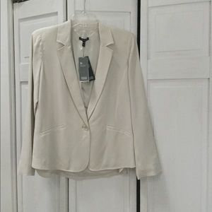 Eileen Fisher NWT Cream Silk Crepe Jacket - XS